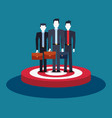 businessmen team group standing on target business vector image