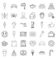 caramelize icons set outline style vector image