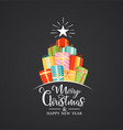 christmas label with flat gift boxes and holiday vector image