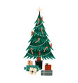 christmas tree flat wrapped vector image vector image