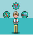 courier man holdng laptop app logistic and vector image