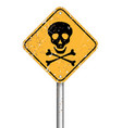 danger skull pole warning sign symbol grunge style vector image vector image