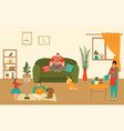 family characters at home with kids spending time vector image