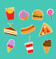 fast food icons and stickers vector image vector image
