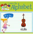 Flashcard letter V is for violin vector image vector image