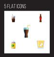 flat icon drink set of lemonade fizzy drink vector image vector image