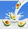flowing milk splash with avocado fruits vector image vector image