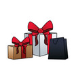 gift boxes and shopping bag colorful design vector image vector image