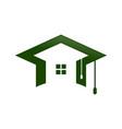 graduation cap home shape space symbol design vector image