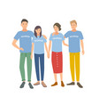 group of young people wearing t-shirts with vector image vector image
