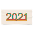 happy new year banner with retro lines 2021 3d vector image vector image