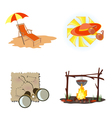 holiday icons beach vector image vector image
