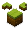 isometric landscape cube land and grass vector image