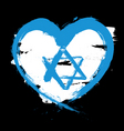 Israel heart flag vector image vector image