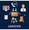 Logistics and delivery flat icons vector image vector image