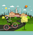 man on bicycle with industrial city on background vector image