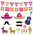 Mexican party decoration and photo booth pr vector image vector image