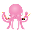 Octopus Eating Sushi vector image vector image