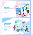 page of finances and technical support vector image