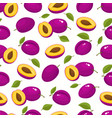 pattern with cartoon plums isolated on vector image vector image