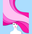 portrait of girl cut of paper 3d vector image vector image