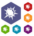 powerful explosion icons set hexagon vector image vector image