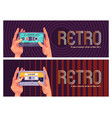 retro dance music style 80s banner vector image vector image
