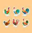 roosters stickers set vector image vector image
