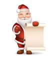 santa claus with a list gifts vector image vector image