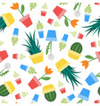 seamless colorful plants and flowers pattern vector image
