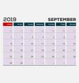 september 2019 calendar planner design template vector image