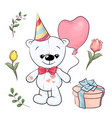 set little white teddy bear and flowers hand vector image vector image