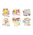set logos for celebration teachers day vector image vector image