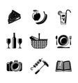 Set of monochrome picnic icons - basket plate vector image