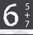 set with low poly numbers 5 6 7 isolated on vector image