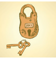 Sketch padlock with keys in vintage style vector image vector image
