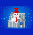 snowman with presents on blue gradient background vector image