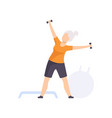 sportive senior woman character exercising with vector image vector image