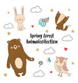 spring forest animal collection vector image