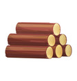 stack firewood icon brown tree trunks vector image vector image