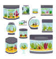 transparent aquarium interior vector image