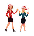 two girls women drinking champagne dancing at vector image vector image