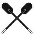 two wooden crossed oars icon simple vector image