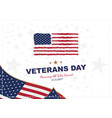 veterans day greeting card with usa flag on vector image
