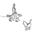 woman walks with a dog and meets a cat vector image vector image