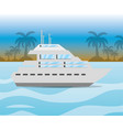 yacht navigating in the ocean near a island vector image vector image
