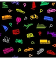 Seamless background transport colored icons vector image