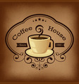 Coffee with label over vintage background vector image