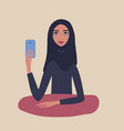 beautiful muslim woman wearing hijab holding vector image vector image