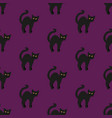 black cat on purple seamless vector image vector image